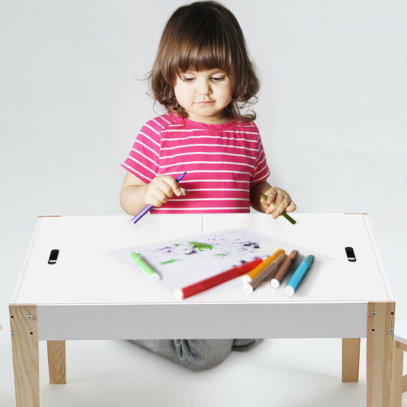 Kids Activity Table Chair Set Study Storage Desk Dining