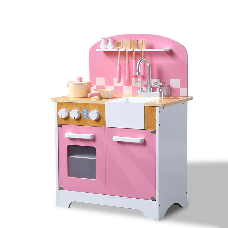bb7059af7ec1 Kids Wooden Kitchen Pretend Play Set Children Cooking Toy Home Cookware  Toddlers | Buy Play Kitchens & Toy Food - 0608410885752