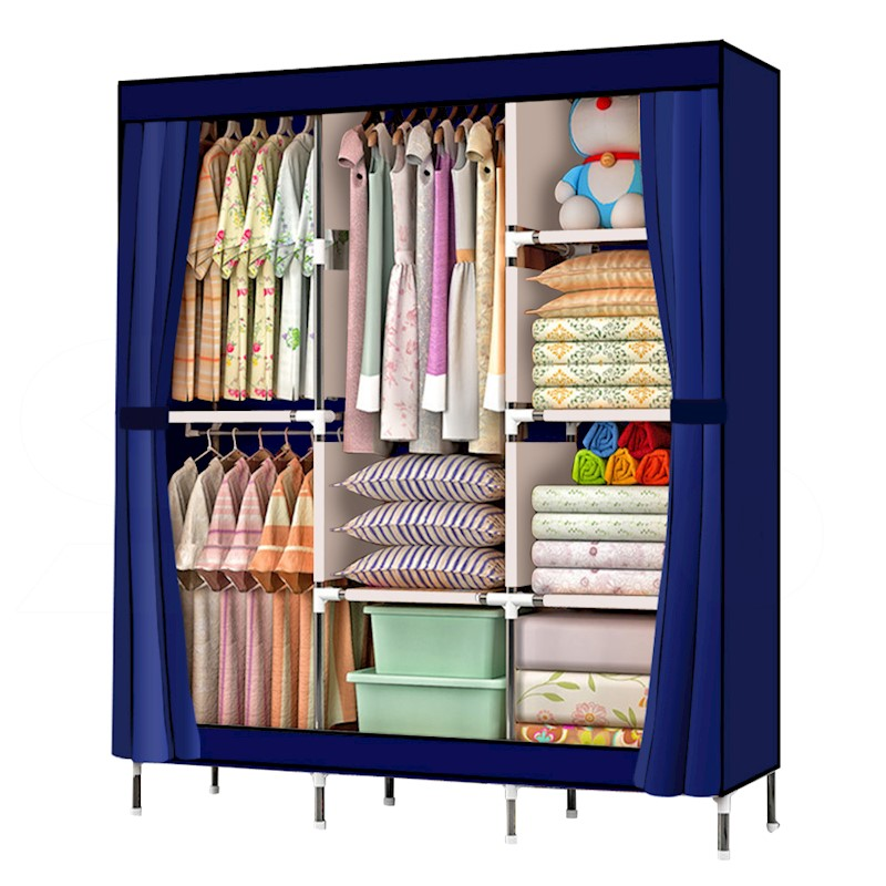 Large Portable Clothes Closet Canvas Wardrobe Storage Organizer With  Shelves. H M S Remaining