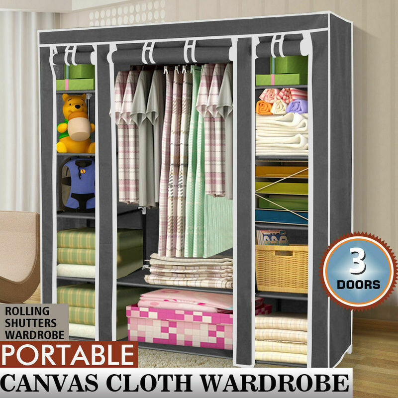 Canvas Storage Boxes For Wardrobes: Large Portable Clothes Closet Canvas Wardrobe Storage