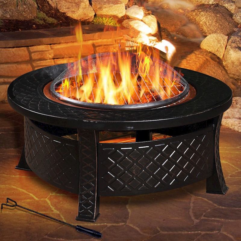 Outdoor Fire Pit BBQ Table Grill Garden Patio Camping ...