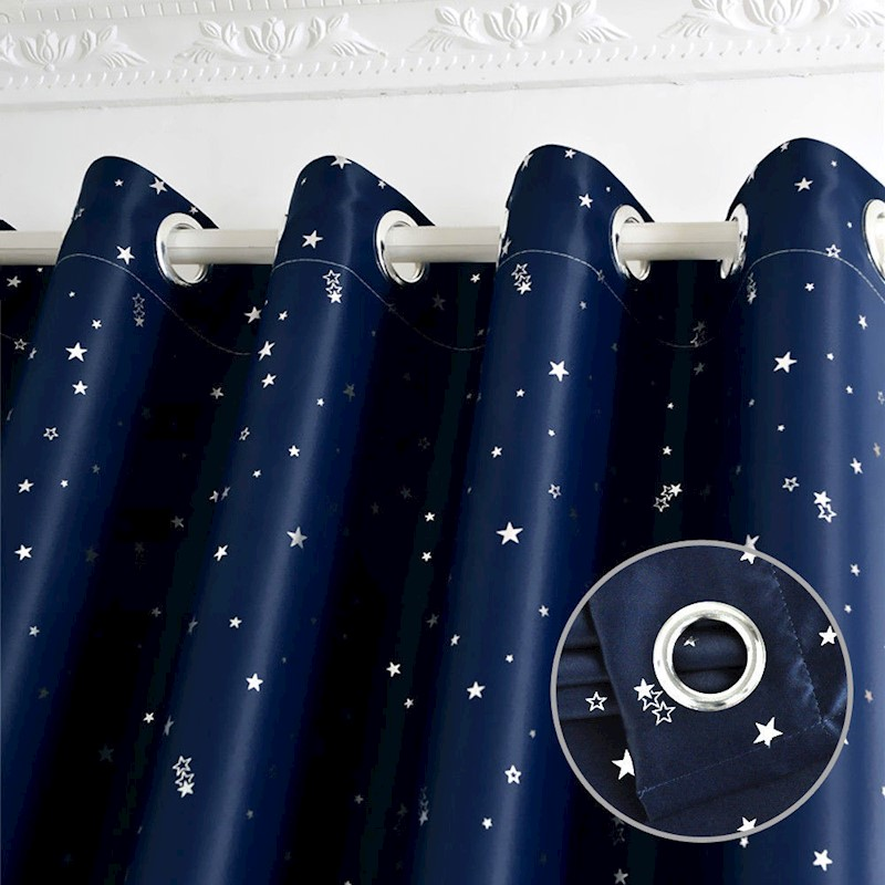 Star Blockout Blackout Curtains 3 Layers Eyelet Pure Fabric Room Darkening H M S Remaining