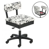 Horn Gas Lift Storage Sewing Chair in Black & White