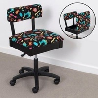 Horn Gas Lift Storage Sewing Chair Black & Colour
