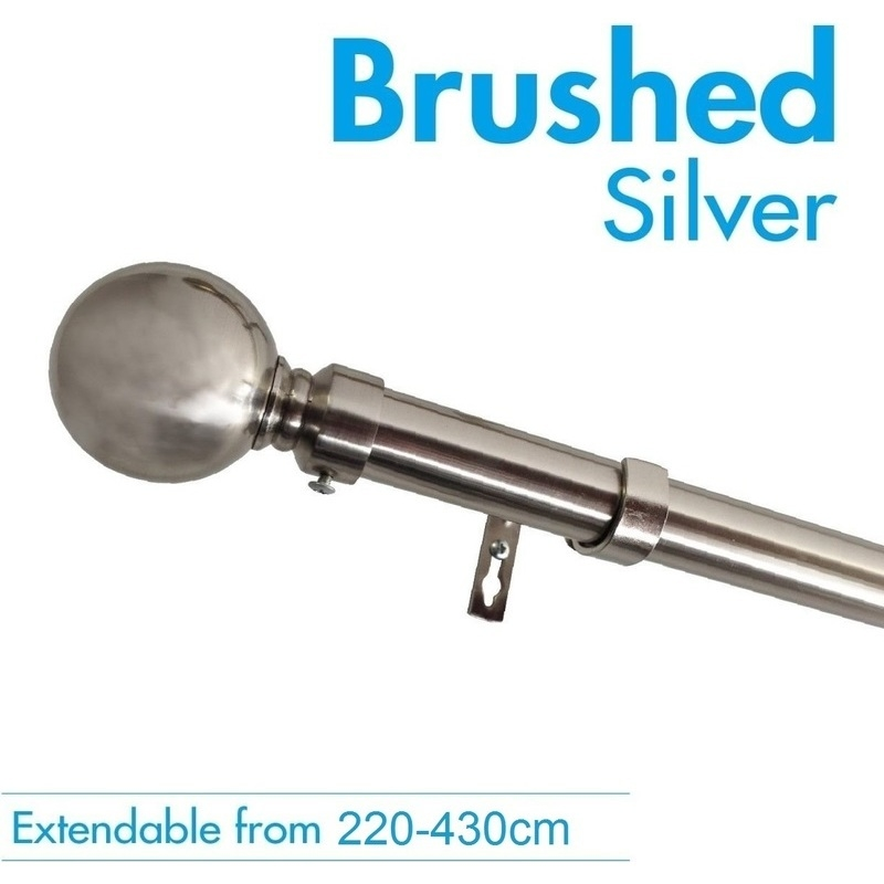 Extendable Curtain Rod In Brushed Silver 220 430cm Buy