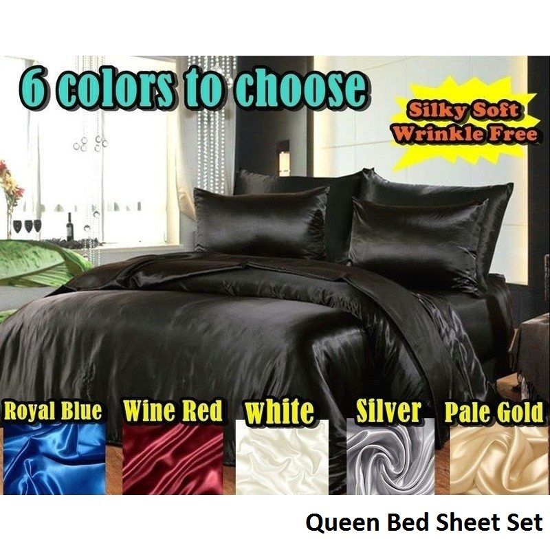 Queen Hotel Quality Satin Bed Sheets Set 6 Colours