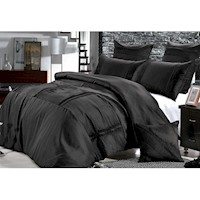 Florence Queen Pleat Pintuck Quilt Cover Set Black