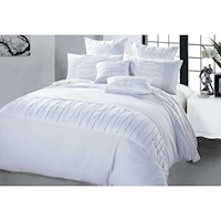 Kello Queen Embellished Pleat Quilt Cover Set White