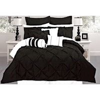 Fantine Super King Microfibre Quilt Cover Set Black