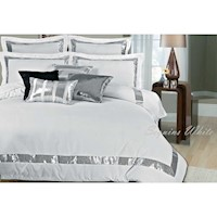 Sequins Queen Microfibre Quilt Cover Set in White