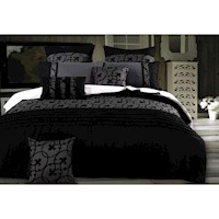 Lyde Queen Flocked Quilt Cover Set in Black & Grey