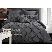 Fantine Super King Microfibre Quilt Cover Set Grey