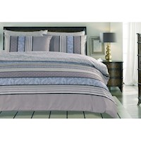 Filli King Striped Doona Quilt Cover Set in Purple