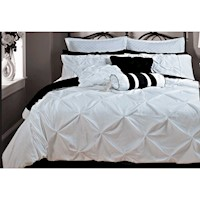 King Size White Weave 3pcs Quilt Cover Set
