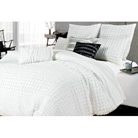 Queen Size White Pintuck 3pcs Quilt Cover Set