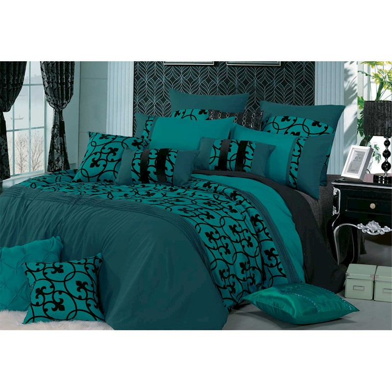 king size teal green 3pcs quilt cover duvet cover set buy king quilt cover sets 738246617439. Black Bedroom Furniture Sets. Home Design Ideas
