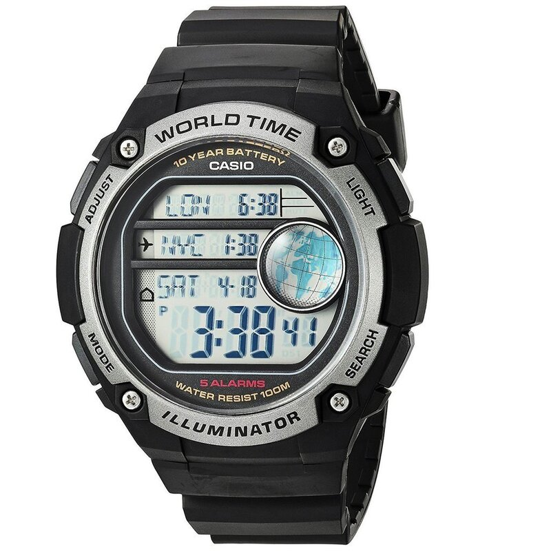 8d16a449009 h m s Remaining. Casio AE-3000W-1AV Black Silver Dual World Time Unisex  Digital Sports Watch