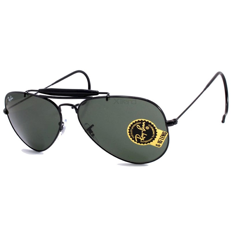 076a7a5ff4 Ray-Ban RB3030 L9500 Outdoorsman Black Green Classic G-15 Aviator Sunglasses