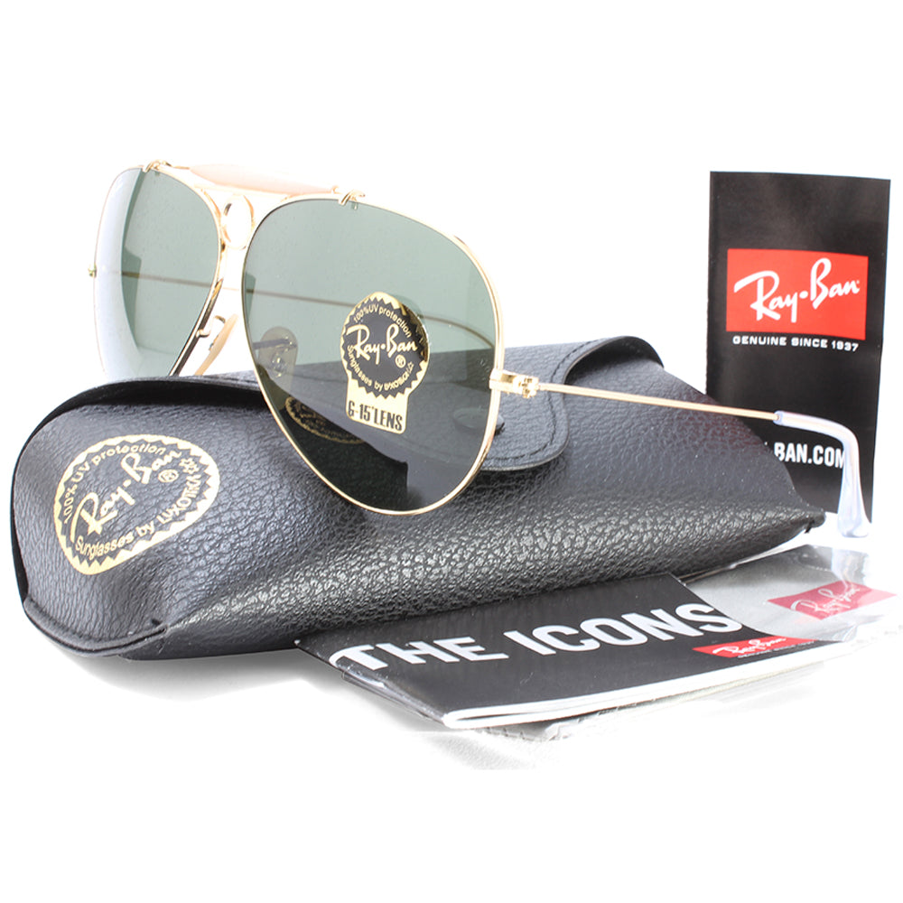 130626312733f ... low price ray ban rb3138 001 aviator shooter gold green unisex  sunglasses. h m s remaining 24b23