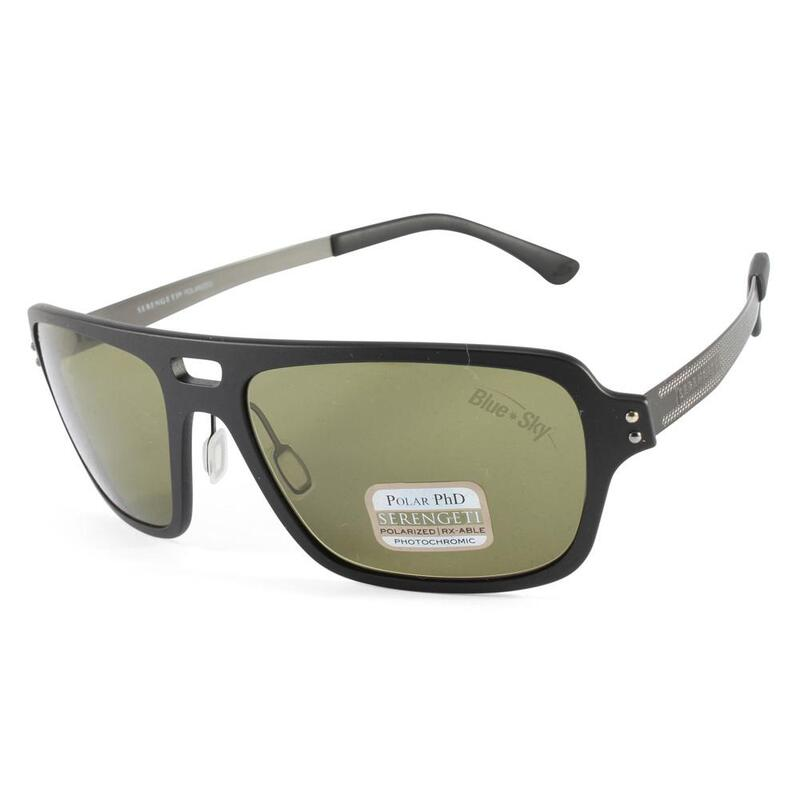 df1c5e244619 h m s Remaining. Serengeti Nunzio 7837 Satin Black Green Polarised Mens  Sunglasses