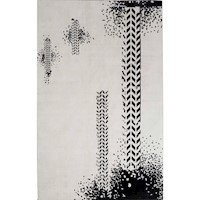 Veeraa Arica Modern Art Silk Rug in Black & Ivory