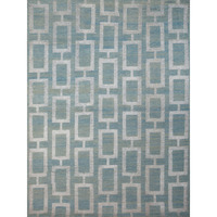 Maya Hand Knotted Wool & Art Silk Rug in Steel Blue