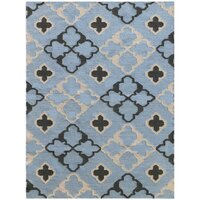 Natural Handmade Flat Weave Wool Rug in Dusty Blue