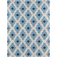 Natural Handmade Flat Weave Wool Rug in Light Blue