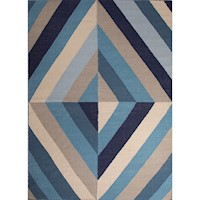 Handmade Flat Weave Rug in Ocean Blue/Antique White