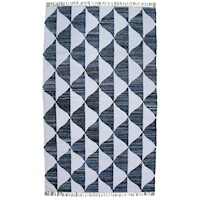 Nash Handmade Tassled Flat Weave Cotton Rug in Blue