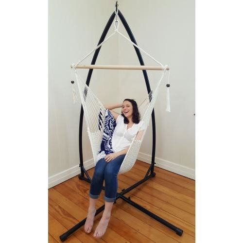 Cotton Rope Hammock Chair & Stand w/ Tassels White | Buy ...
