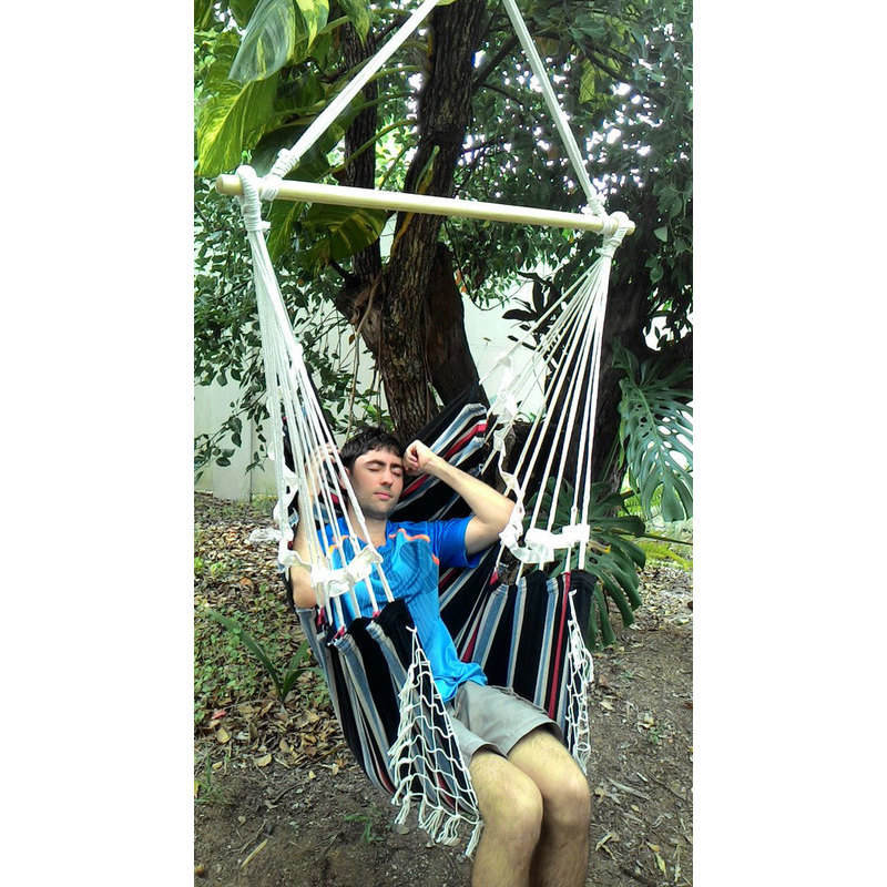 Canvas Knotted Hammock Chair W Fringe Multi Colour Buy