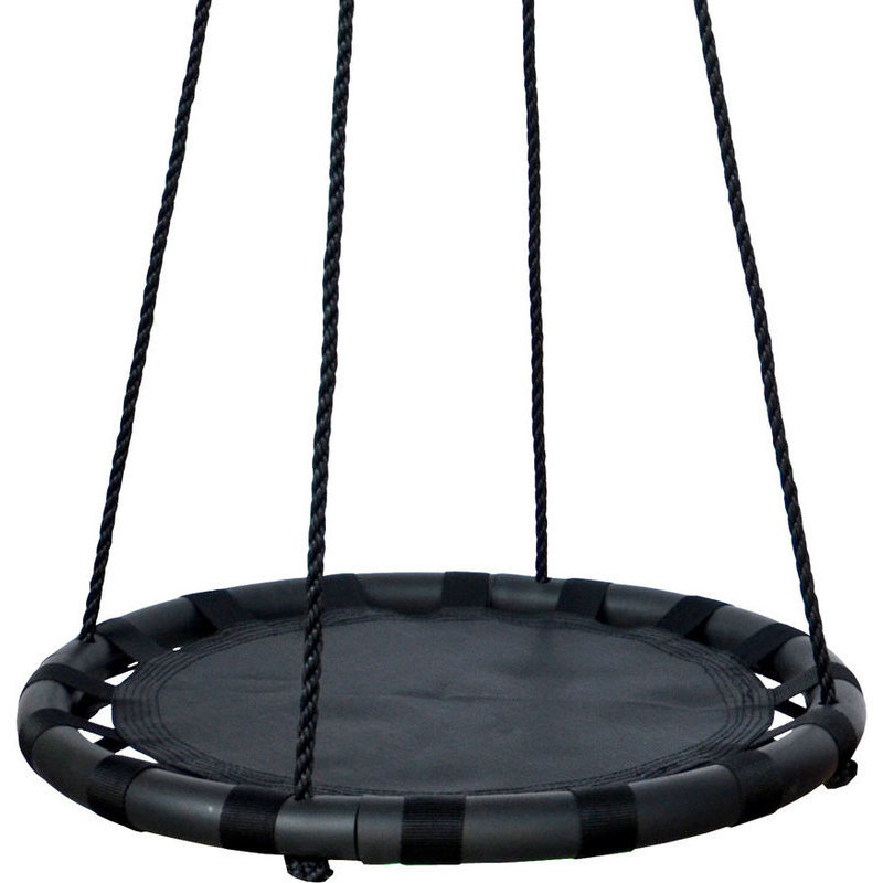 Kid 39 s outdoor round nest swing in black 60cm buy swings for Round porch swing