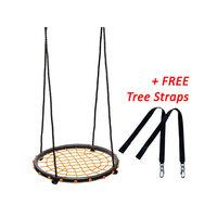 Round Spider Web Nest Swing in Orange 60cm