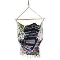 Canvas Knotted Hammock Chair w/ Fringe Multi-Colour