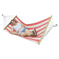 Small Canvas Hammock w Spreader Bar in White & Red