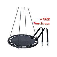 Kids Round Mat Web Birds Nest Swing Black 100cm