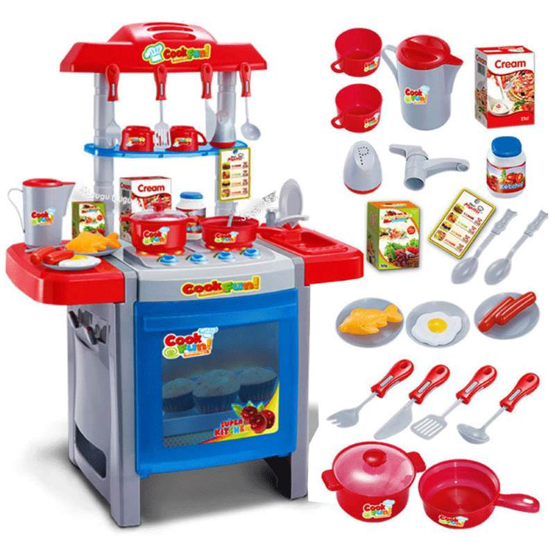 Kids Pretend Play Toy Kitchen Set W/ 25 Accessories