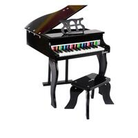 30 Keys Kids Wooden Musical Toy Grand Piano Black