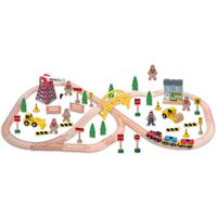 70pc Kids Wooden Play Toy Construction Train Set