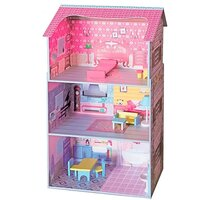 11pc Kids Wooden Doll House & Furniture Set in Pink