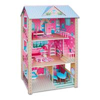 17pc Kids Large Wooden Doll House and Furniture Set