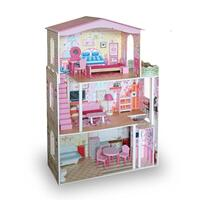7pc Kids Large Wooden Dolls House and Furniture Set