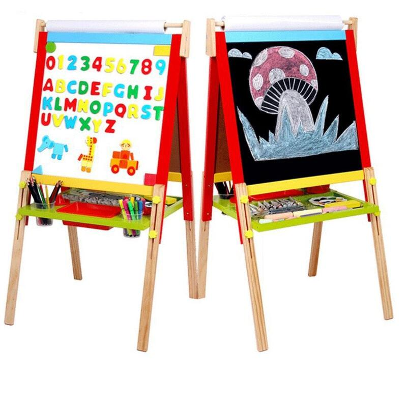 Kids Easel Art Children Whiteboard Blackboard Stand Wood