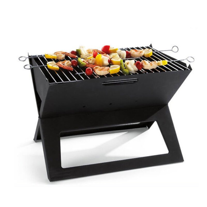 60e2c1907f5b85 h m s Remaining. Portable Notebook Grill Foldable Folding Charcoal BBQ  Camping Picnic Barbecue