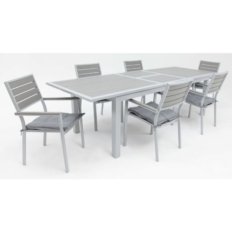 Heywood Extendable Dining Table W 6 Chairs In Grey Buy
