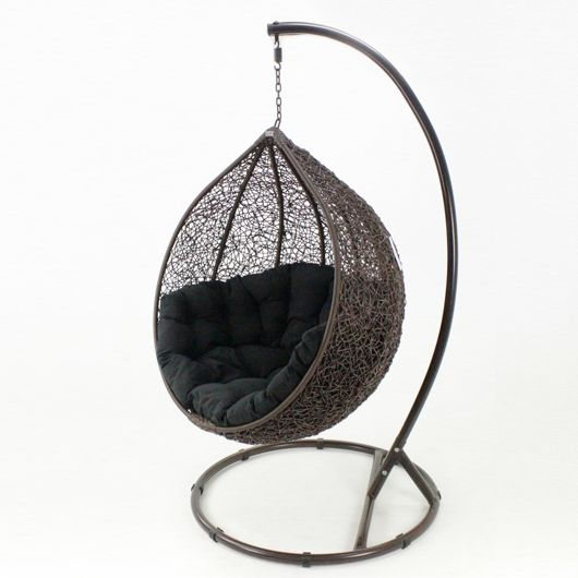 kakadu rattan wicker pod chair in brown and black | buy hanging chairs
