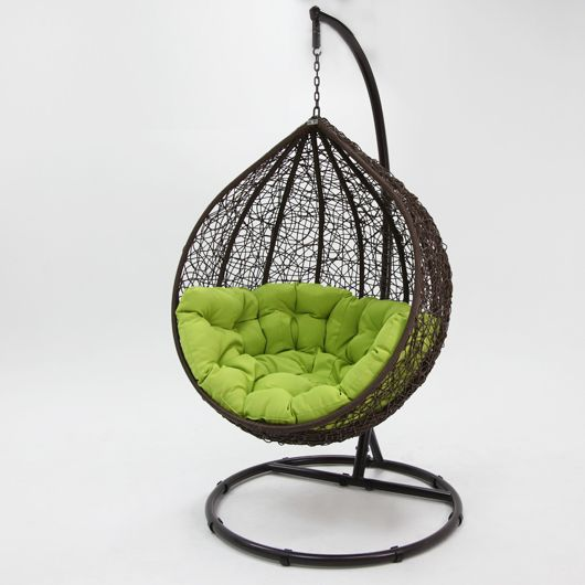 kakadu rattan wicker pod chair in brown and green | buy hanging chairs