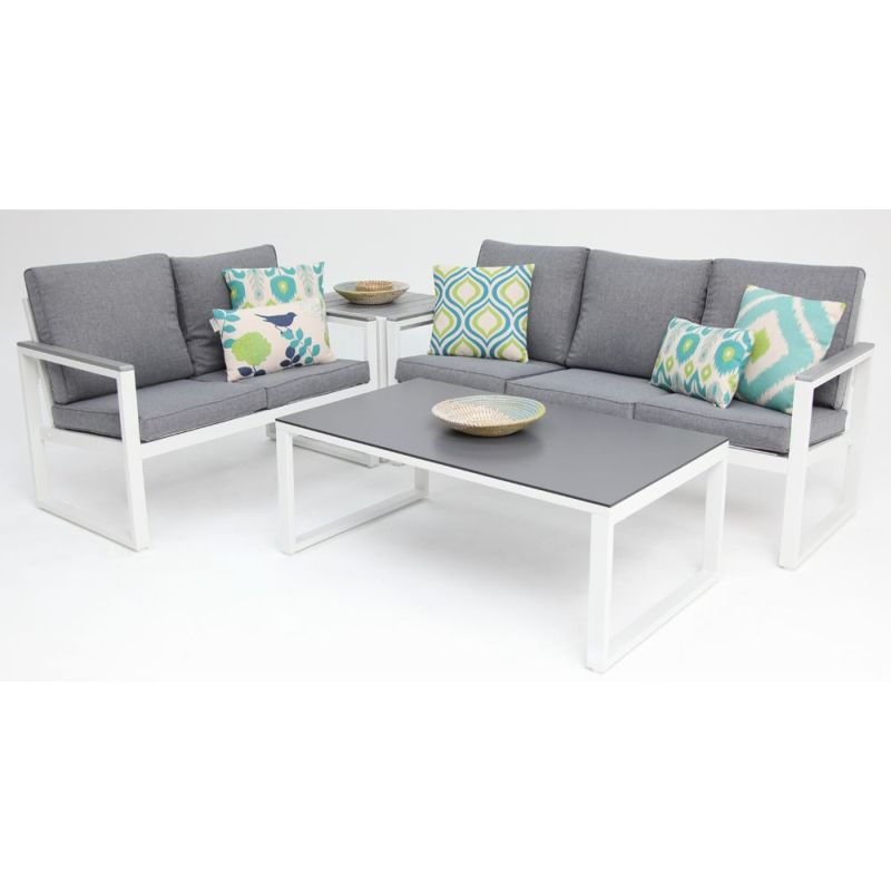 positano 5 seat outdoor lounge set in white slate buy 5 seat lounge sets. Black Bedroom Furniture Sets. Home Design Ideas
