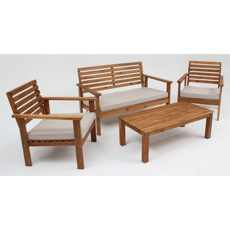 whitsunday 4 seat timber outdoor lounge set natural buy new arrivals. Black Bedroom Furniture Sets. Home Design Ideas